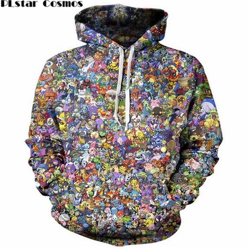 PLstar Cosmos 2017 hot sale Fashion 3d Hoodies Cartoon Pokemon print Women Men Sweats Jumper O-Neck Hipster Hooded Sweatshirts