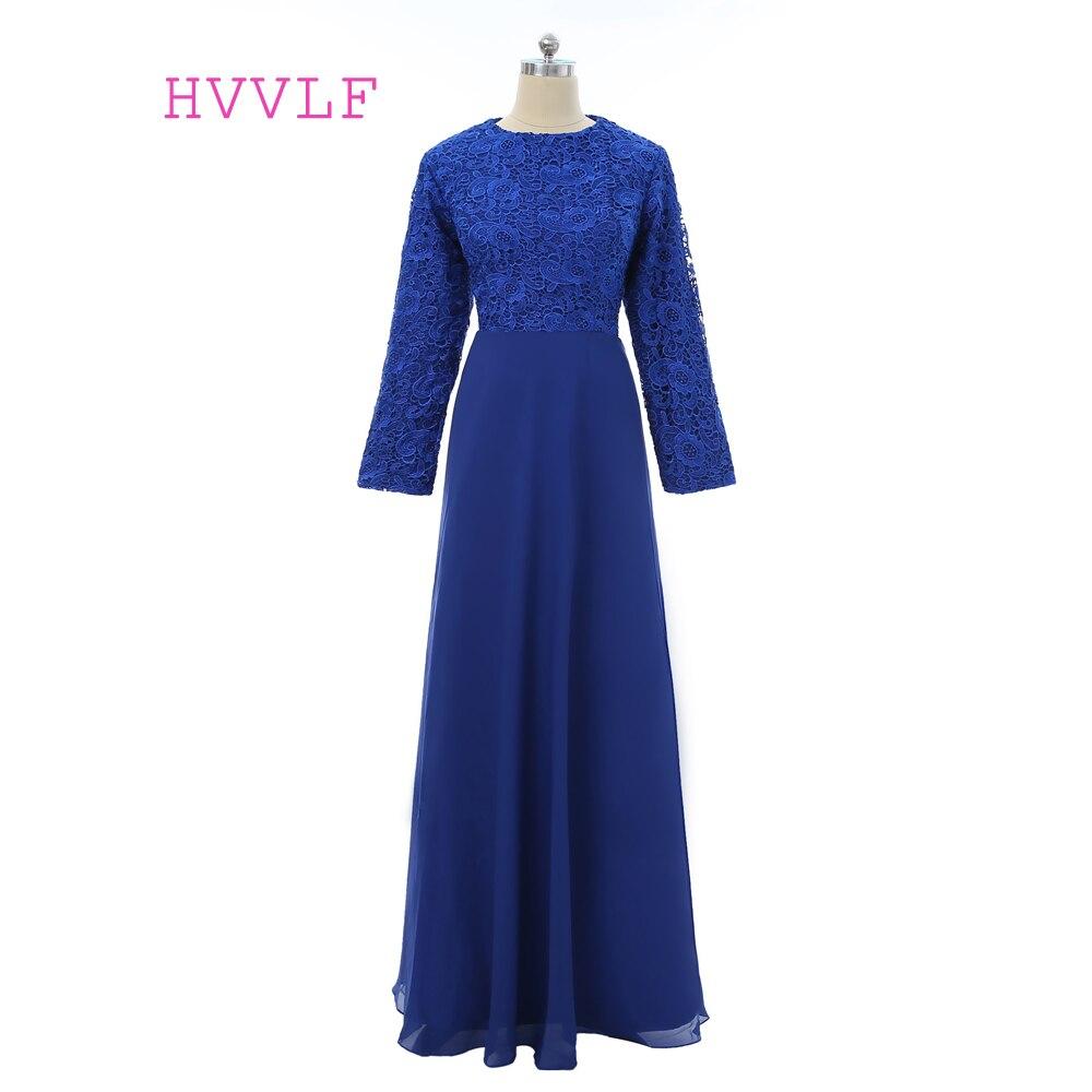 Blue 2018 Muslim Evening Dresses A-line Long Sleeves Chiffon Lace Hijab Islamic Dubai Abaya Kaftan Long Evening Gown Prom Dress