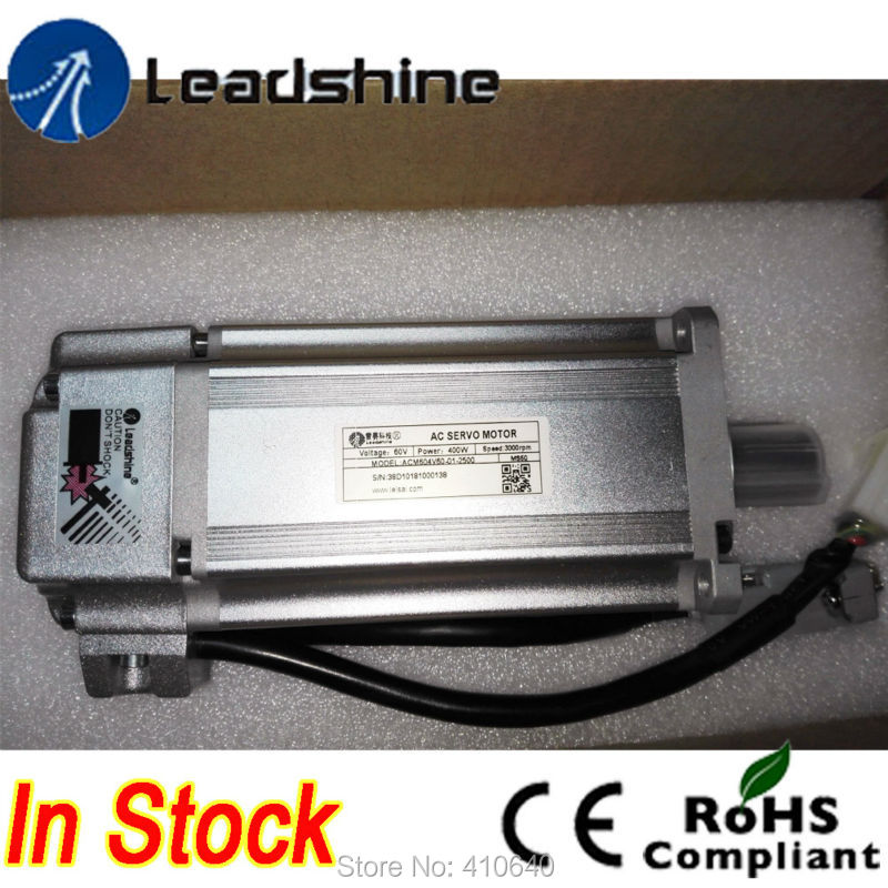 Leadshine ACM604V60 400W Brushless AC Servo Motor with 2500-Line Encoder and 4,000 RPM  Speed Free Shipping leadshine 200w brushless ac servo drive and motor kit acs806 acm602v60 2500 new