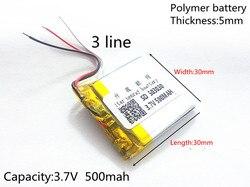 (Frete grátis) bateria de Polímero de íon de lítio 3.7 V, 500 mah 503030 053030 CE FCC ROHS MSDS certificação de qualidade