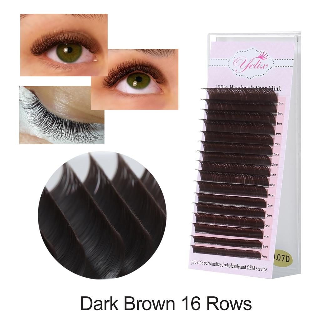Yelix 16 Rows 7-15mm Brown False Eyelashes Extension Individual Lashes Natural Fake Eyelash Extensions Eyelashes For Building