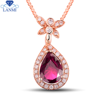 Real 18K Rose Gold Natural Pink Tourmaline Pendant Necklace Diamond Jewelry For Girl Party Gift WP066