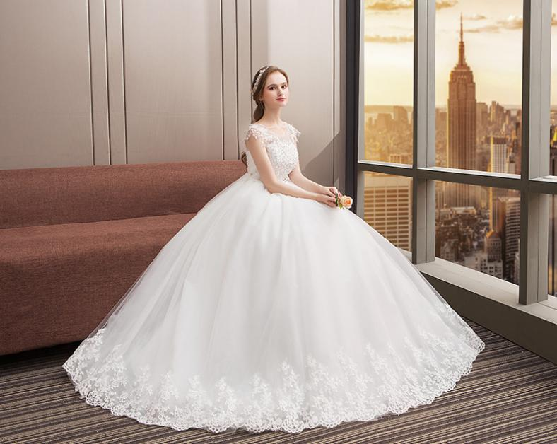 Vensanac ball gown crystal illusion o neck lace appliques wedding