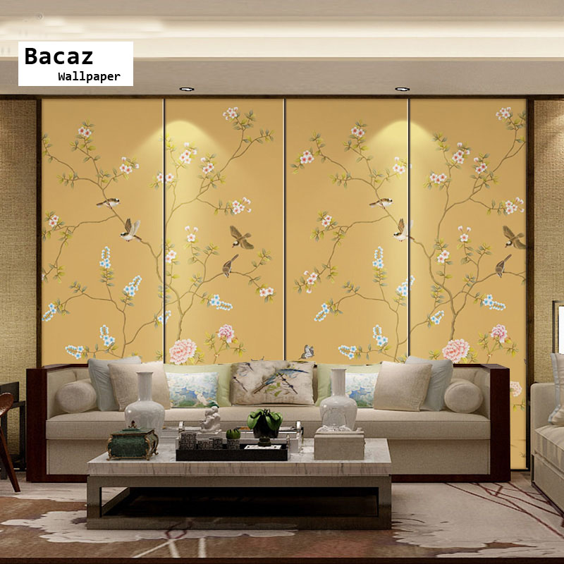 Bacaz Traditional Chinese Birds Flower Paintings Wallpaper Papel Mural 3D Wall Mural Wall paper for Living Room Sofa Background 3d mural customized graffiti wallpaper america statue of liberty marilyn monroe wall mural 3d room wall paper for living room