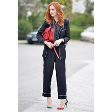Jacket+Pants Black White Women Business Suits 2 Piece Sets Blazer Formal Office Uniform Style Female Trouser Suit Custom Made