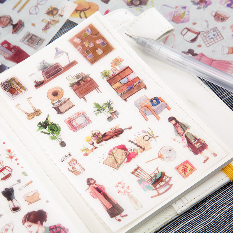 6 PCS Cute Stickers Scrapbooking Bullet Journal Stickers Stationery Sticker Flakes Handmade Diary Seal Labels Stikers Supplies