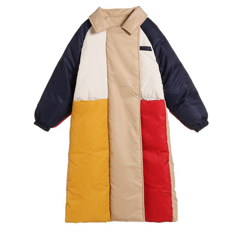 Femmes Automne Grande Parkas Poches Corée Bloc Décontracté Chaud Lâche Hiver Taille Manteau Paddded Oversize Couleur Épais Veste Coton Longue gArdgxqO