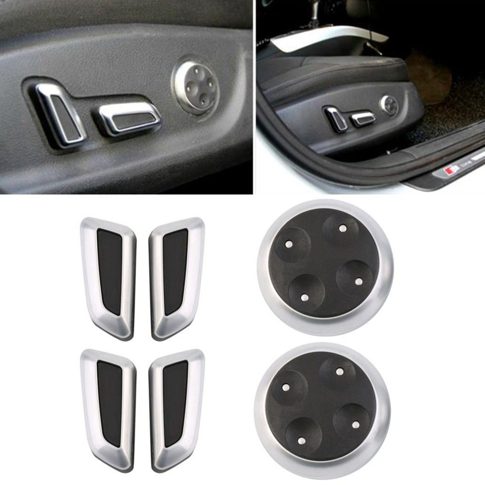 High Quality Newest Seat Adjustable Switch Knob 6pcs Black Matt High Quality Chrome For AUDI Cars Hot Sale