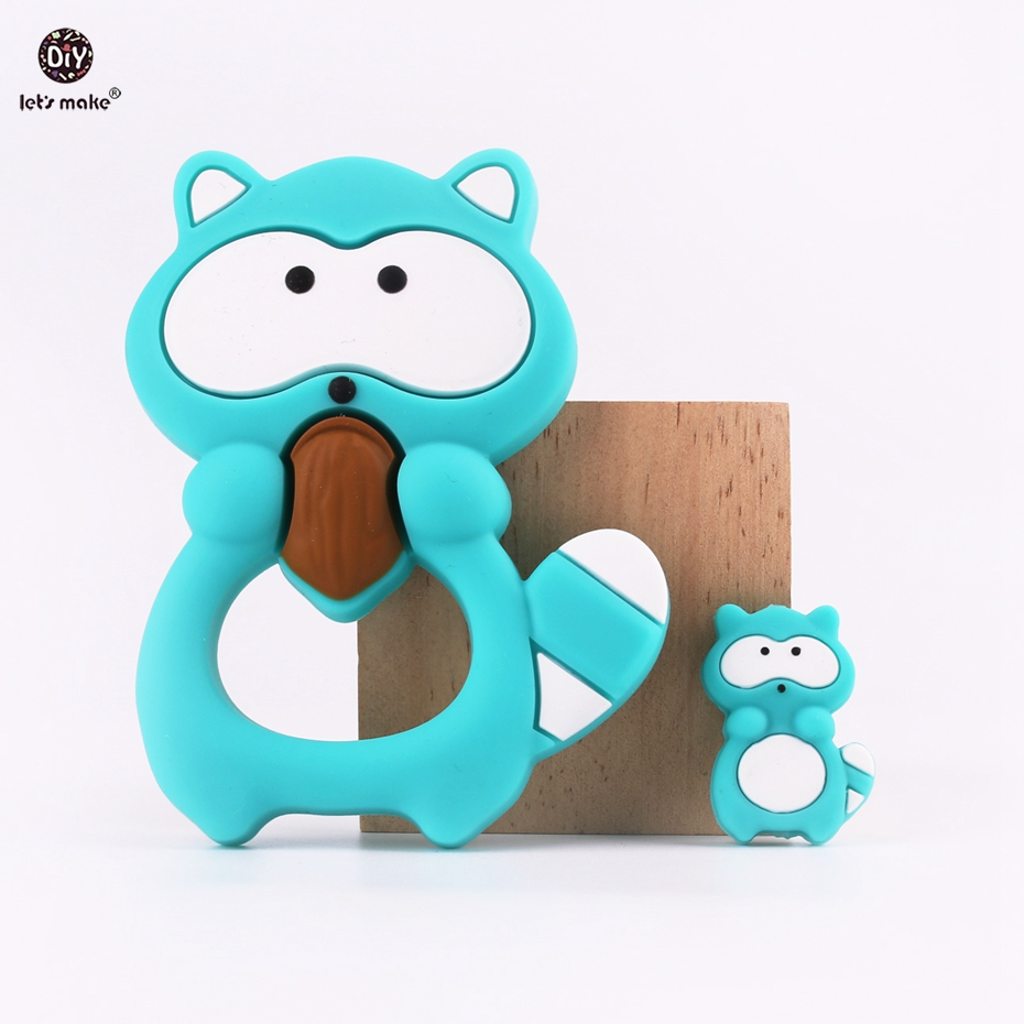 Lets make Silicone Raccoon and Mini Raccoon BPA Free Silicone Teether DIY Pendant Nursing Necklace Teething Baby Teethers