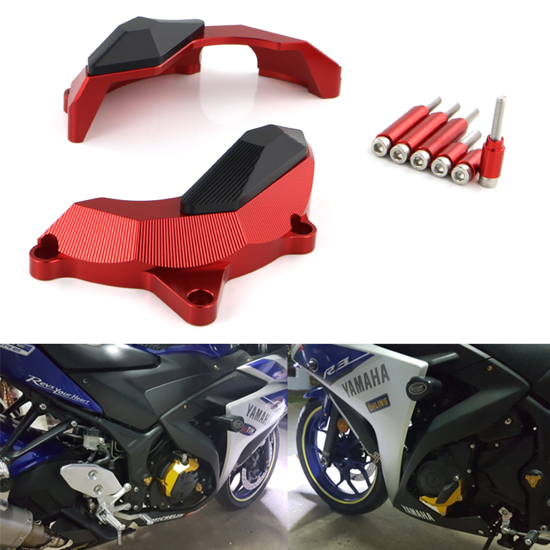 Engine Stator Clutch Case Slider Protector Cover Crash Pad For Yamaha YZF R25 R3 2013 2014 2015 2016 2017 MT03 MT25 2015 2016 new arrival motorcycle cnc crash pad engine cover frame sliders crash protector for yamaha yzf r3 2015 2016 r25 2013 2015
