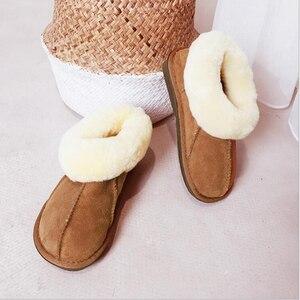 Image 4 - Тапочки из овечьей кожи; Женская меховая домашняя пушистая зимняя плюшевая меховая теплая обувь на плоской подошве; Милая женская обувь; Pantufas; Домашняя женская обувь; c324