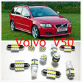 Car interior lights set lights White LED Lights Interior Package Map Dome For Volvo V50 V70 S80 S40 S30 2009-2016