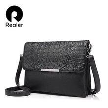e83473226 Más real de las mujeres de la marca de embragues con patrón de cocodrilo de  cuero artificial bolso cadena bolsas de mensajero de.