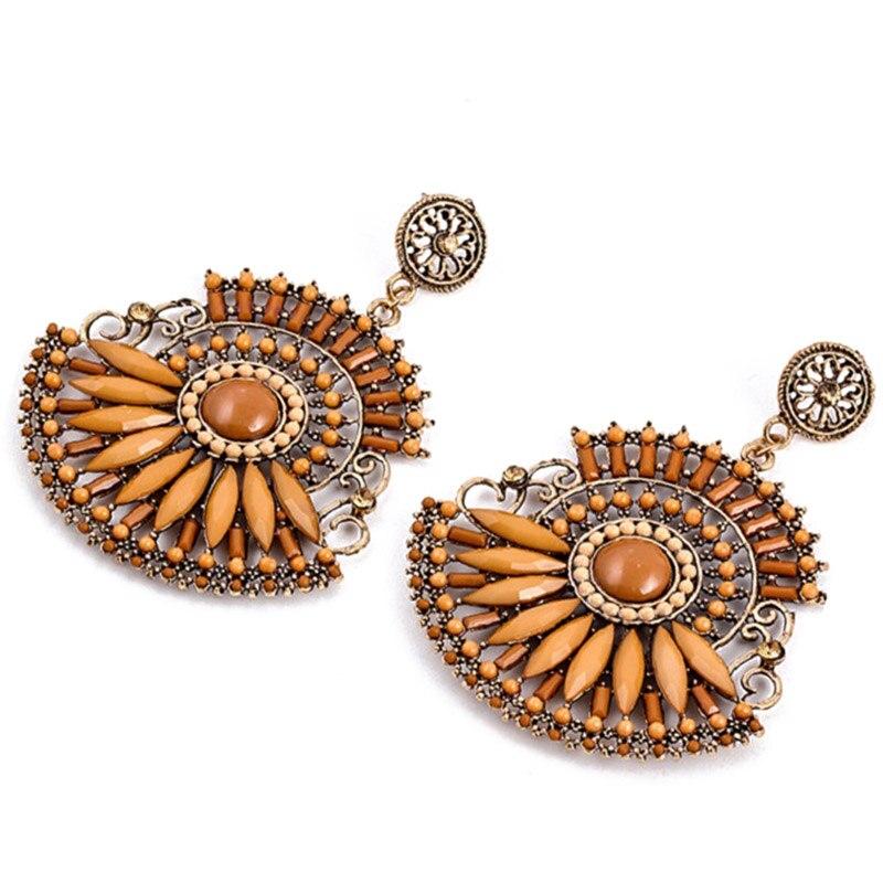 Brand Bohemian 2017 Big Crystal Drop Earrings Gypsy Vintage Long Coin Channel Earrings Women jewelry