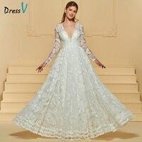 Dressv Marfim Longo Vestido de Noiva V Neck Mangas Compridas A linha Lace Tulle Zipper Up Elegante Personalizado Jardim Da Igreja Do Casamento vestido