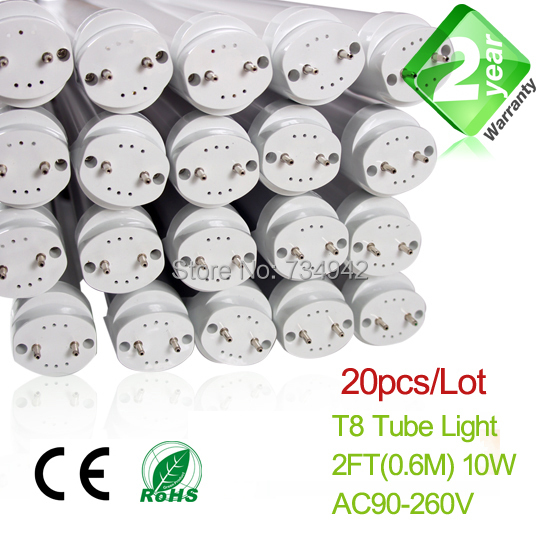 Free Shipping 20pcs/Lot 2ft T8 LED Fluorescent Tube Light 10W 900LM 2 Year Warranty with SMD2835 Epistar