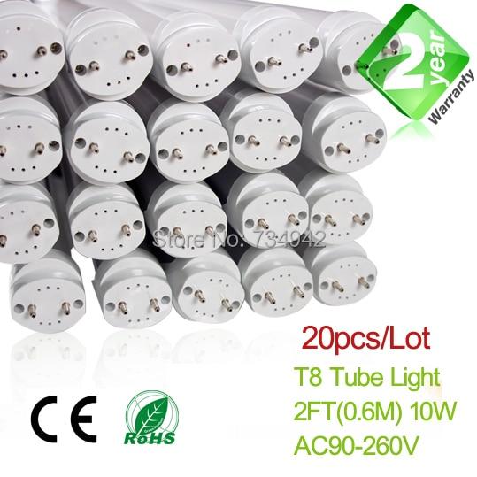info for ca2ee 9be8b Livraison Gratuite 20 pcs Lot 2ft T8 LED Tube Fluorescent Lumière 10 W  900LM 2 An de Garantie avec SMD2835 Epistar