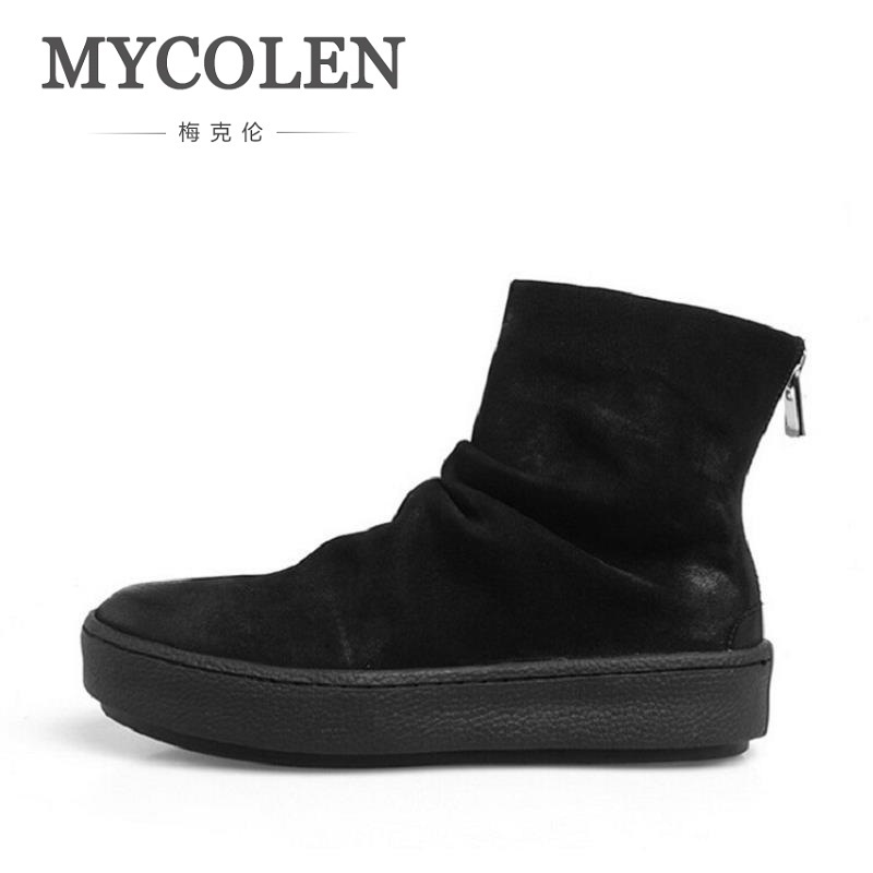 MYCOLEN Men's Ankle Chelsea Boots NEW Man Italian Fashion Black/Brown Round Toe Slip-On Zipper Rubber Boots Thick Bottom Shoes new arrival superstar genuine leather chelsea boots women round toe solid thick heel runway model nude zipper mid calf boots l63