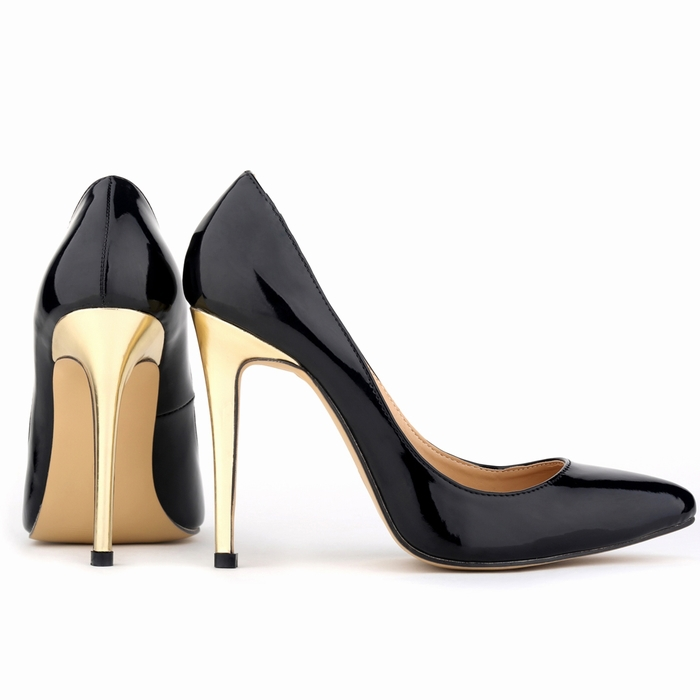 Black Patent Shoes With Gold Heel - Red Heels Vip