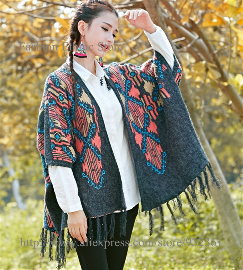 Women Vintage Geometric Knit Jacquard Sweater Kimono Cardigan Coats