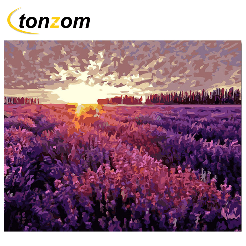 RIHE Sunset Lavender Field Drawing By Numbers Purple Flower DIY Painting Handwork On Canvas Oil Art Coloring For Home