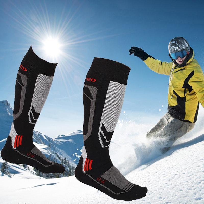 Prix pour 1 paire Hommes de Long Coton D'hiver Long et Épais Thermique Neige Ski Randonnée Alpinisme En Plein Air Sport Chaussettes Genou Genou Haute bas