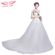 AnXin SH Lace flower deep V collar sweet bride wedding dress, self-cultivation big tail Wedding dress Bridal new 2756