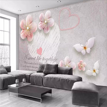 Custom 3d mural stereo jewelry plum TV background wall painting decorative painting wallpaper mural photo wallpaper все цены