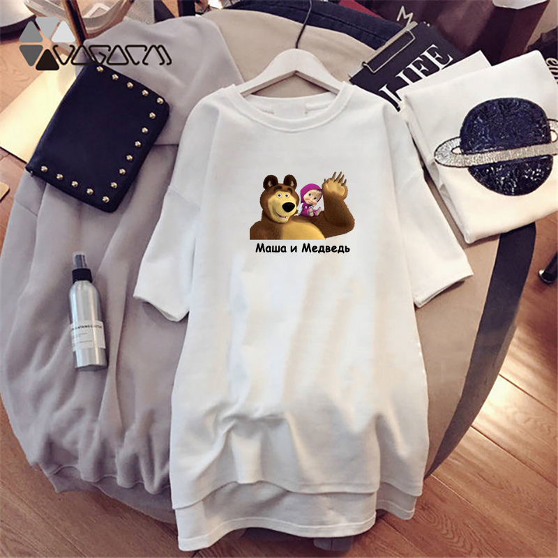 Masha And Bear Women Dresses Cartoon Print Summer Casual Loose White  Cute Clothes Plus Size Dress Black