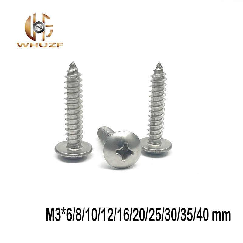 M3 * 6/8/10/12/16/20/25/30/35/40mm 304 stainless steel self-tapping sekrup besar jamur kayu kepala datar baut