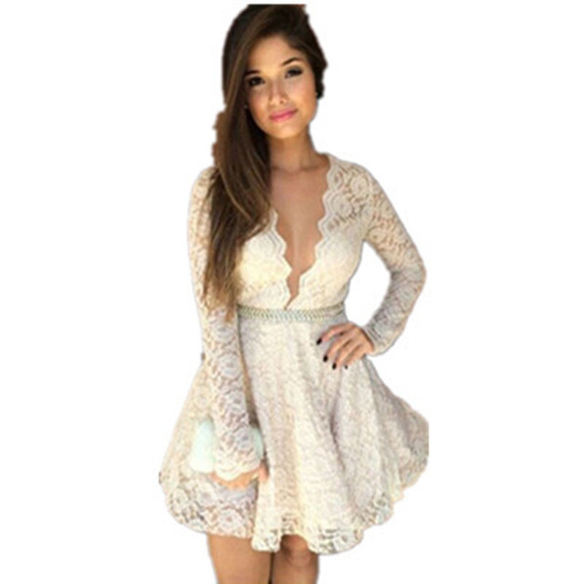 73a22bb1c7 Vestidos New 2017 Autumn Dresses Cute White Sexy Deep V Neck Lace Long  Sleeve Skater Dress For Korean Style Women LC21735