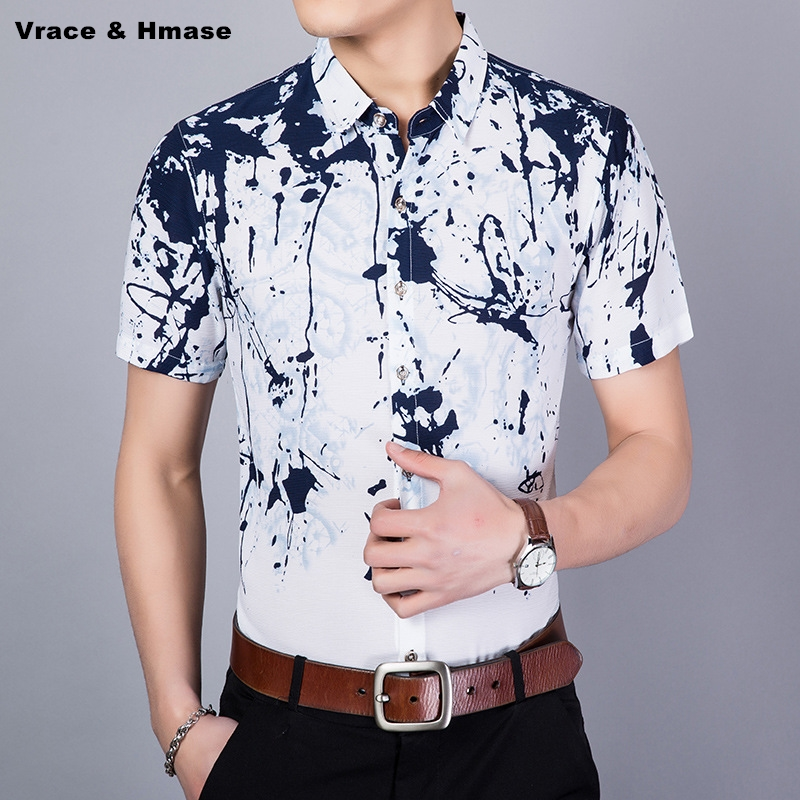 NO.1806 Creative inkjet printing fashion trend boutique short sleeve shirt Summer 2018 New quality silk cotton shirt men M-XXXL