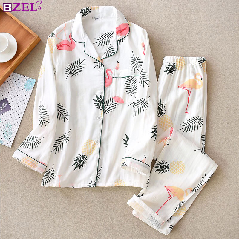Flamingo Fresh cartoon 100% gauze cotton   pajama     sets   women summer thin long sleeve casual cozy sleepwear spring women pyjamas