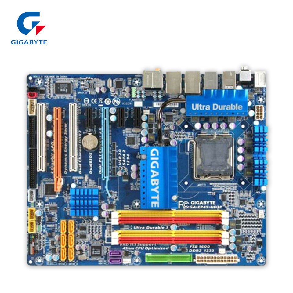 Original Gigabyte GA-EP45-UD3P Desktop Motherboard EP45-UD3P P45 LGA 775 DDR2 SATA2 USB2.0 ATX 100% Fully Test original gigabyte ga 945gcm s2c desktop motherboard 945gcm s2c 945gc lga 775 ddr2 4g sata2 micro atx 100% fully test