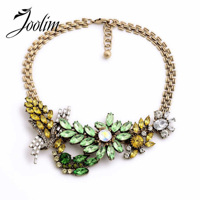 JOOLIM   Trendy Green Crystal Choker Necklace Collar Necklace Accessories Charm Jewelry Design Jewelry
