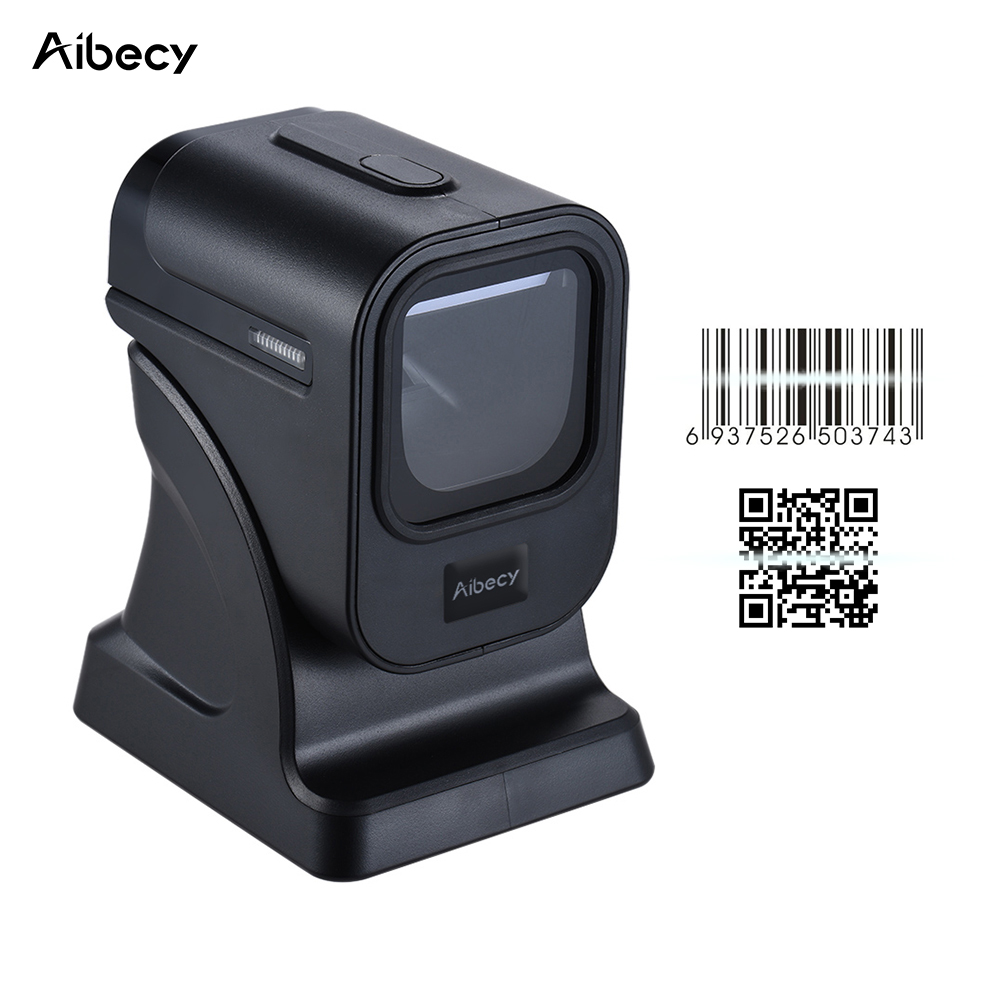 High Quality 20 Lines Laser Desktop Flatbed Barcode Scanner Bar code Reader1D/2D with USB Interface for Retail Store/Supermarket