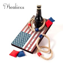 Mealivos USA Desktop Mini Cornhole Game 2-IN-1 Bag &Ring Toss 2pcs/set