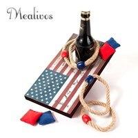Mealivos USA Desktop Mini Cornhole Game 2 IN 1 Bag &Ring Toss Game 2pcs/set