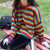 Женский корейский Harajuku Hong Kong-flavored Свободный Полосатый свитер женские свитера японский Kawaii одежда ulzzang для женщин