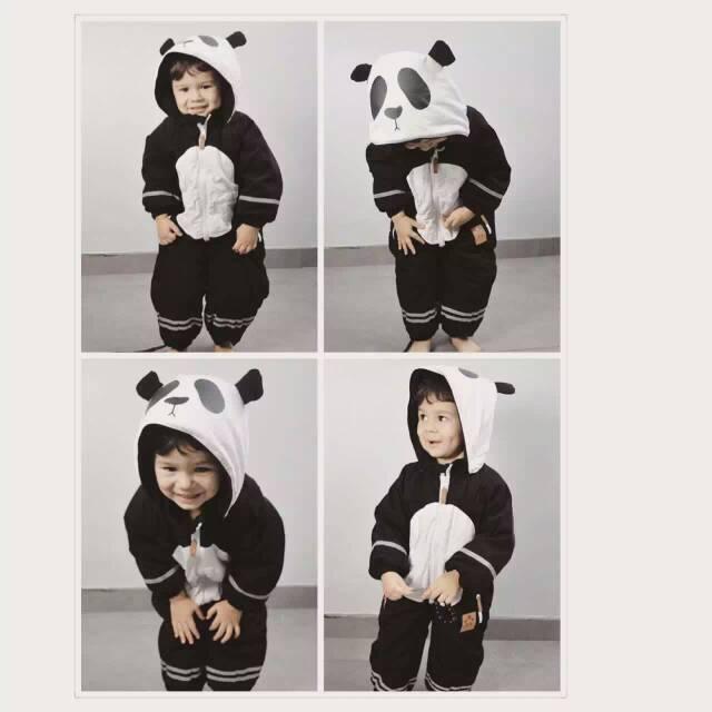 Mini Rodini Panda Pattern Ski W/Water Proof Material  Baby Girls Boys Winter Coat Baby Long Sleeve  Jacket Cicishop