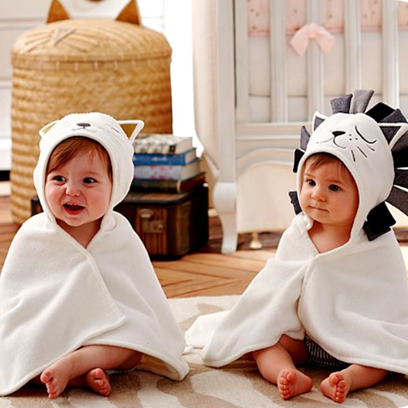 18 Baby Boys Girls Cotton Cape Cloak Towels Newborn Bath Towel Infant Soft Cartoon Hooded Towel Wrap Blanket Sleeping Bag