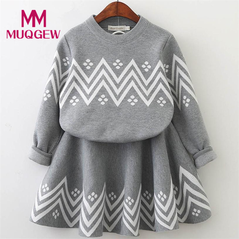 Fashion Trendy Toddler Kids Baby Girls Outfit Clothes Long Sleeve Knitted Sweater Tops+Skirt Set Autumn Winter Clothes Sets 2pcs children outfit clothes kids baby girl off shoulder cotton ruffled sleeve tops striped t shirt blue denim jeans sunsuit set