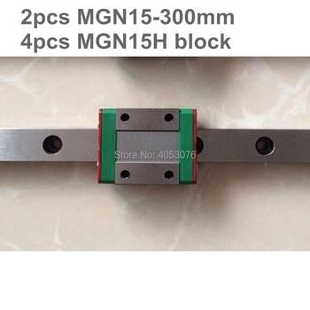 Linear guide MGN15 miniature linear rail slide 2pcs MGN15- 300mm linear rail guide +4pcs MGN15H carriage for cnc parts