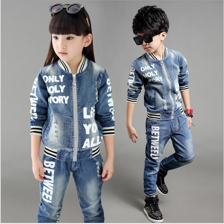 Spring Autumn Children Clothing Sets Boys Girls Denim Clothes Suit English Words Children Tracksuit for 5-12Years boys clothes autumn children 2017 new boys tracksuit cotton camouflage two piece clothing kids clothes suit 4 6 8 10 12 14 years