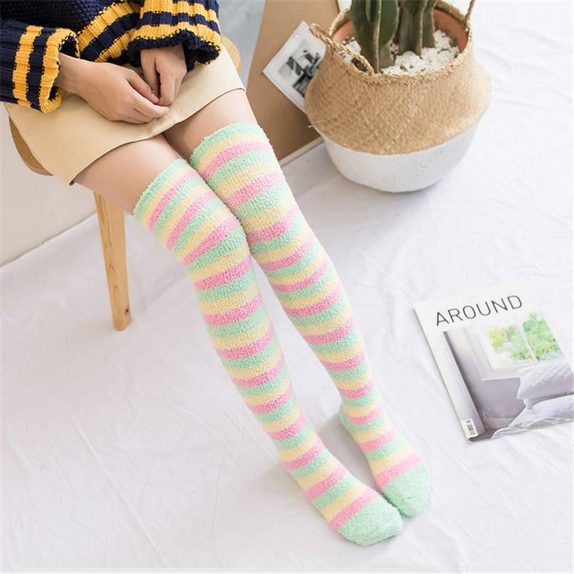 Green Rainbow Women 's Long Sexy Coral Fleece Winter Stockings Thick Thigh High Stockings Plus Size Medias Sexy Lingerie 50CM