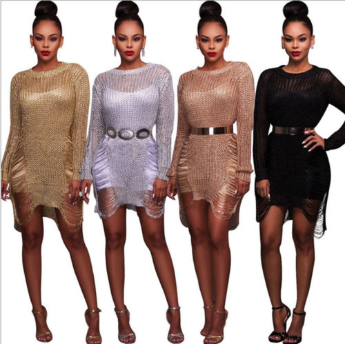 Round Neck Party Club Wear Bodycon Pencil Dress Women Warm Mini Dresses Sexy Long Sleeve Mesh Solid