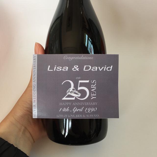 personalized custom wine champagne bottle label silver 25th