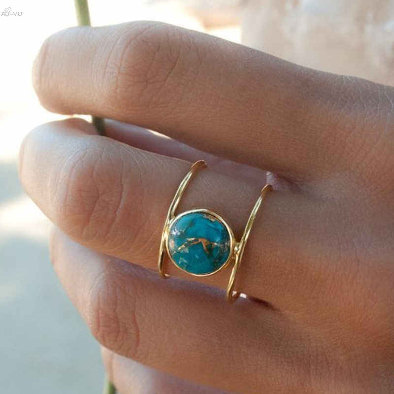 AOMU פשוט ירוק אבן טבעות לנשים הצהרת טבעי אבן תכשיטי מסיבת אירוסין טבעת מתכת זהב טבעת תכשיטי סט