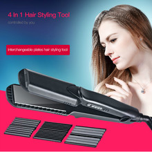 Best Buy 4in1 Flat Iron Ceramic Hair Straightener Electric Irons Temperature Control Corrugated Plate Hair Curling Iron Waves Style Tool