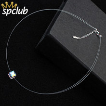 Simple Transparent Thin Lines Crystals from Swarovski Pendant Choker Necklace For Women Charm Fashion Collar Bijoux Jewelry(China)
